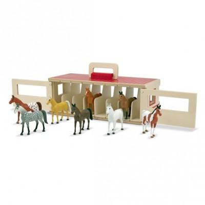 Переносна дерев'яна стайня з кіньми Melissa&Doug (MD13744)