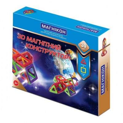 ⇨ Детские конструкторы | 3D магнитный конструктор МАГНІКОН, 30 дет. в интернет-магазине електроники ▻ ONETECHNO ◅