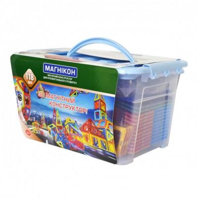 ⇨ Детские конструкторы | 3D магнитный конструктор МАГНІКОН, 118 дет. Plastic box в интернет-магазине електроники ▻ ONETECHNO ◅